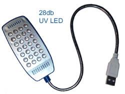 28 LED-es USB UV lámpa